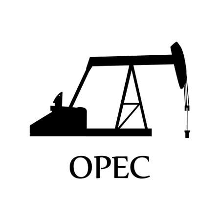 Raster illustration industrial oil pump jack OPEC petroleum global organization.