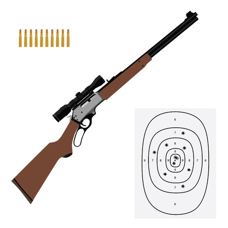 Raster illustration hunting rifle, bullets and shooting target. Sport equipment icon set