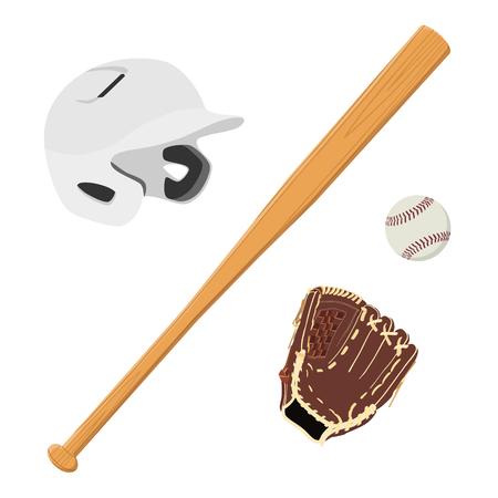 White baseball batting helmet, brown leather baseball glove, wooden baseball bat and baseball ball raster isolated. Sport equipment Stock Photo