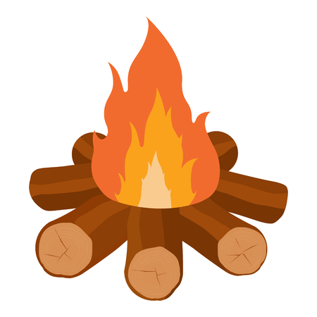 Campfire raster icon illustration isolated on white. Crossed logs and fire flame.  Burning bonfire with wood