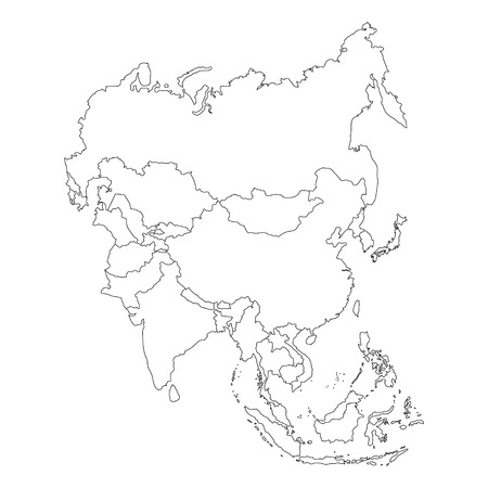 Raster illustration Asia outline map isolated on white background. Asian continent icon