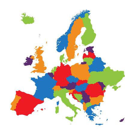 래스터 그림 유럽지도 흰색 배경에 고립입니다. 유럽 대륙지도 아이콘입니다.