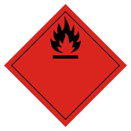 Raster illustration hazard pictogram- flammable transport sign isolated on white background. Dangerous goods transport 写真素材