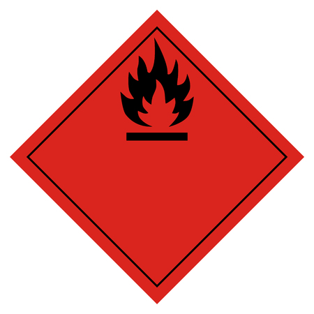 Raster illustration hazard pictogram- flammable transport sign isolated on white background. Dangerous goods transport Foto de archivo