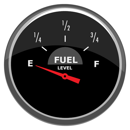 Raster fuel gauge indicator in car dashboard empty isolated on white background.