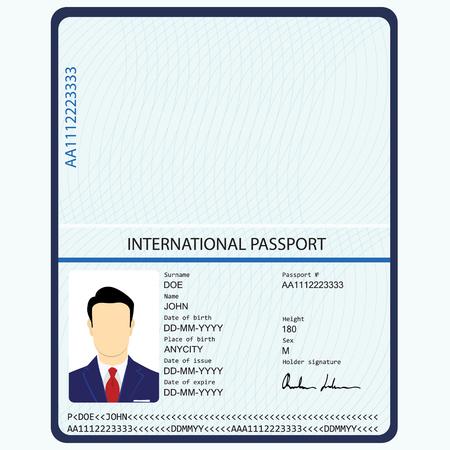 Raster illustration passport with biometric data. Identification Document.  international passport template with sample personal data page