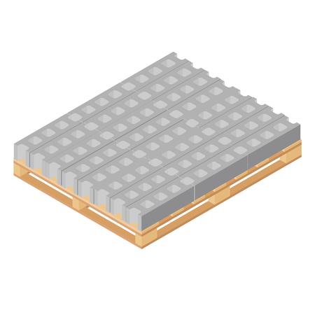 Illustration de raster blocs de construction en béton standard isométriques sur illustration de raster 3d isométrique palette en bois. Icône de bloc de ciment utilisée pour la maçonnerie, les travaux d'architecture Banque d'images - 94312929