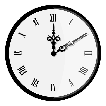 Raster illustration elegant wall clock with vintage hour hand isolated on white background. Clock on wall shows eight oclock. Roman numeral clock