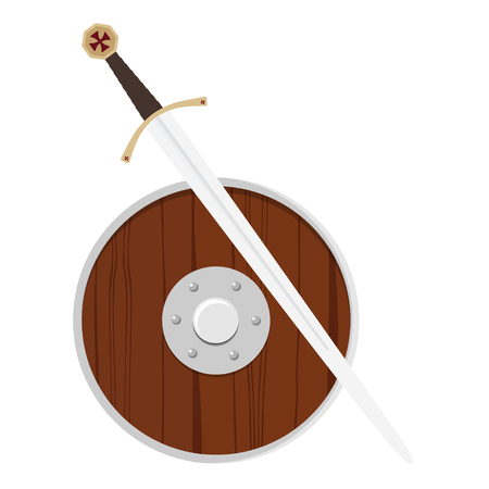 Raster illustration wooden viking shield and sword isolated on white background. Round ancient shield