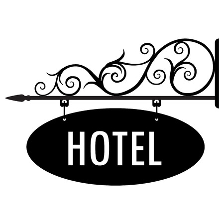 Raster illustration hotel vintage, old sign.  Signage shop sign route hanging information banner retailer. Hotel door sign 版權商用圖片