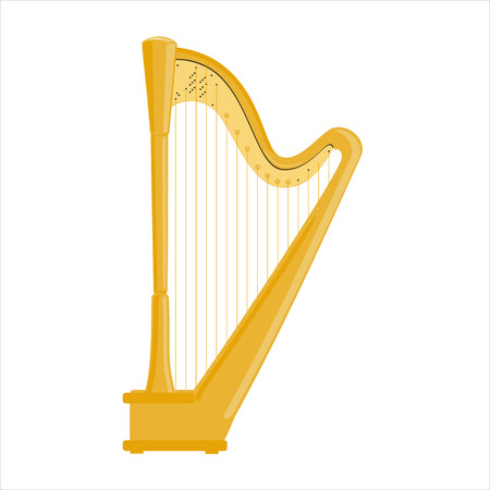Raster illustration classical music instrumet. Pedal harp isolated on white background.