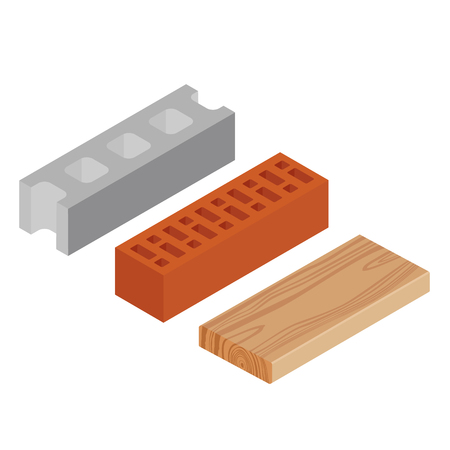 Vector illustration isometric realistic rasped wooden timber plank for building construction or floring. Construction steel beam for architectural works. Cement block Illustration