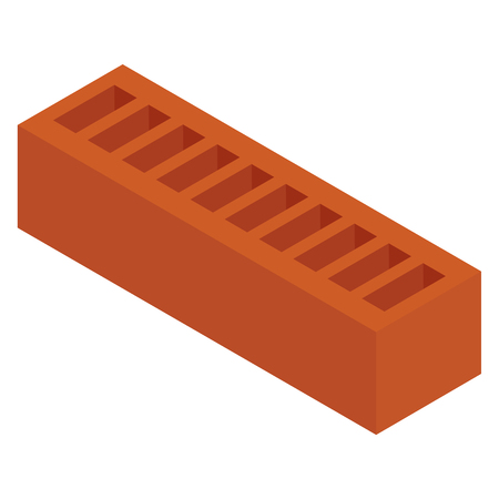 Vector illustration isometric new red perforated ceramic brick isolated on white