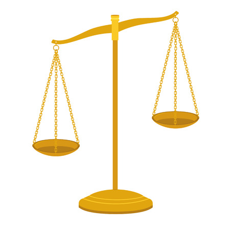 Vector gold brass balance scale isolated on white background. Sign of justice, lawyer