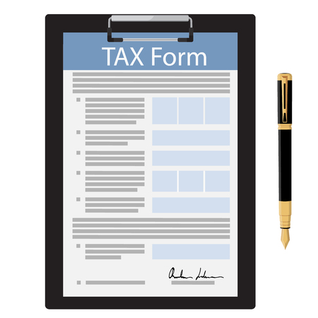 Vector illustration black clipboard with tax form and fountain pen icon isolated on white background. Federal income tax form. Tax return Standard-Bild - 96314081