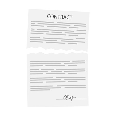 Vector illustration torn terminated business contract. Isolated on white background. Concept of disagreement. Business documents. End deal. Contract termination concept.