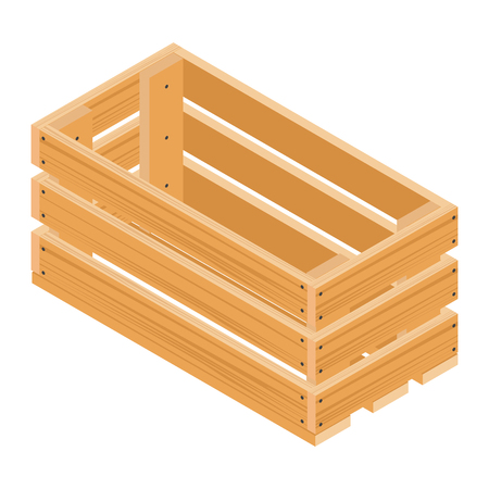 Vector isometric wooden crate isolated on white background
