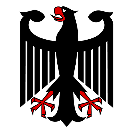 Vector illustration German coat of arms eagle isolated on white background. German symbol, sign