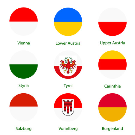 Round vector icon set, collection Austria federal states flags. Burgenland, Vorarlberg, Salzburg, Tyrol, Carinthia, Styria, Lower and Upper Austria. Illustration