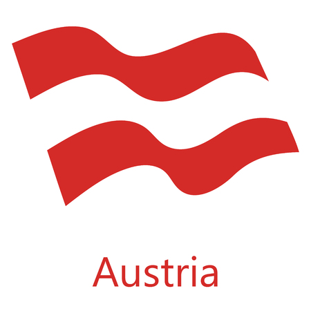 Vector illustration waving flag of Austria icon. Austria flag button isolated on white background