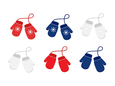 A Vector set illustration pair of knitted Christmas mittens on white background.