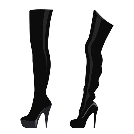A Vector illustration black thigh high boots isolated on white background. Woman fashion boots design Ilustração