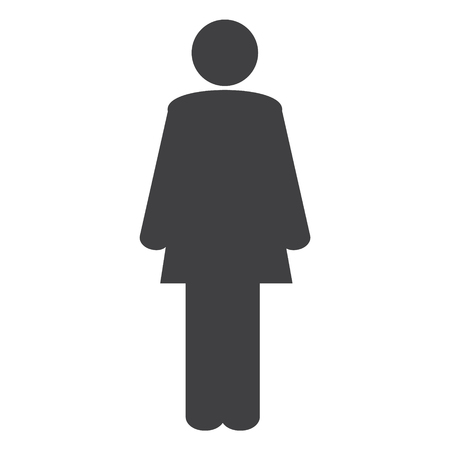 Simple woman, female vector icon.