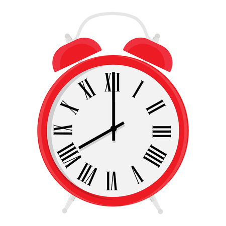 Red alarm clock with roman numerals isolated a on white background Stock Illustratie