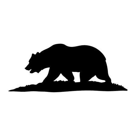 Illustration of a black silhouette of a bear walking