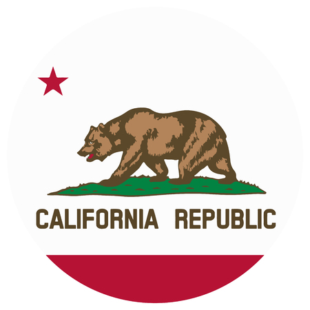 Vector round flag of California State.