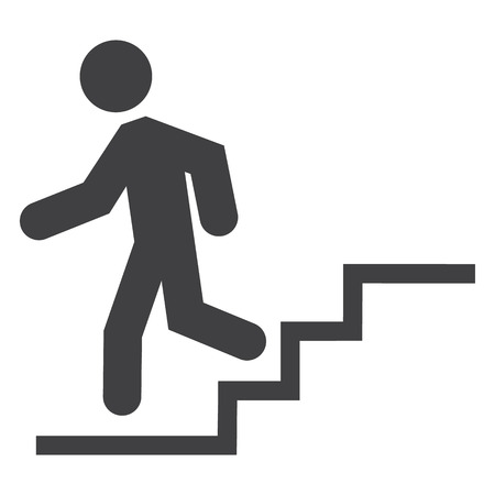 Silhouette of a man walking down stairs on a white background