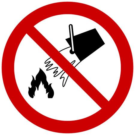No extinguir con señal de prohibición de agua.