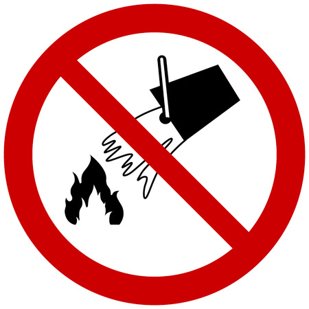 Do not extinguish with water prohibition sign