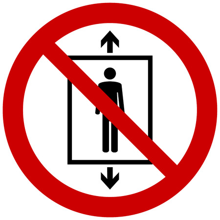 Do not use elevator sign. Do not use lift, prohibition sign with up and down arrows, isolated vector illustration.