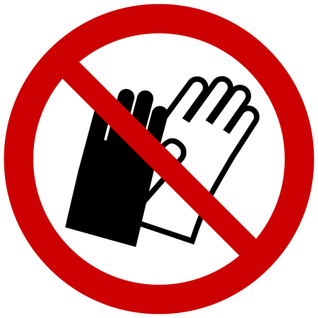 Round prohibition sign- do not wear gloves vector symbol