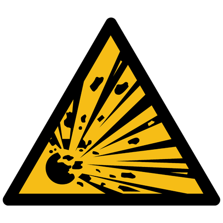 Yellow triangular sign with exploding material sign Vettoriali