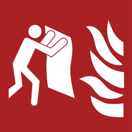 Etiqueta de seguridad-fuego manta ubicación signo vector pegatina