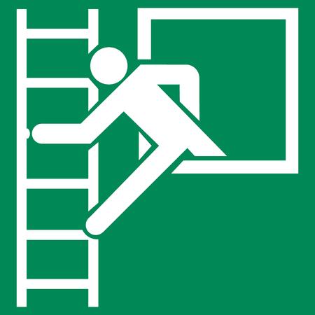 Finestra di emergenza con segnale di sicurezza della scala di fuga