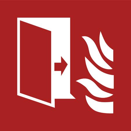 Open door, arrow and flame sign illustration on a red background Ilustração