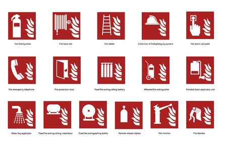 Conjunto de señal de seguridad de emergencia contra incendios, colección. Teléfono de incendios, extintor de incendios y otros signos vector pegatinas