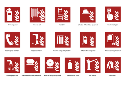 Fire emergency safety sign set, collection. Fire telephone, fire extinguisher and other signs vector stickers