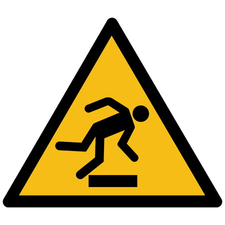 Warning sign - caution floor level obstacle symbol vector label sticker Çizim