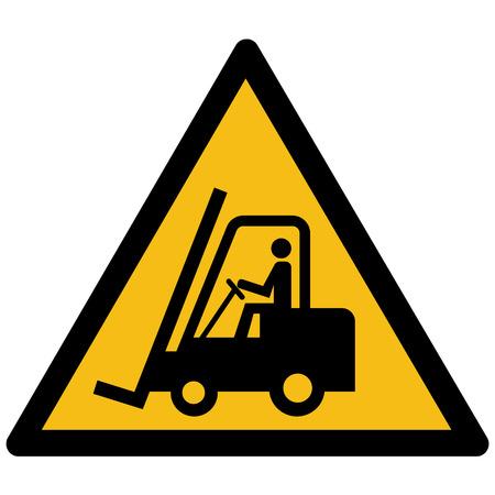 Warning yellow sign - forklift trucks vector label, sticker Foto de archivo - 97417888