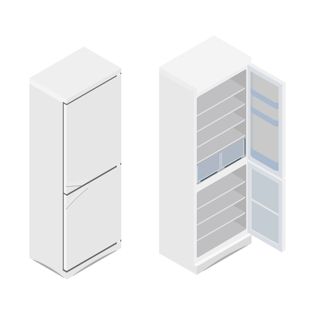A Vector illustration isometric grey opened and closed empty refrigerator. Refrigerator or fridge icon