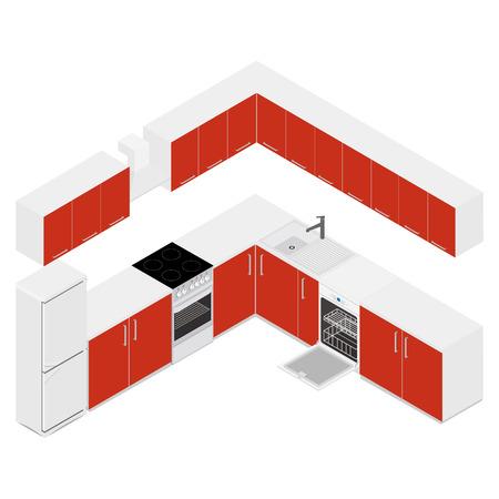 Illustration of 3D isometric modern kitchen interior.
