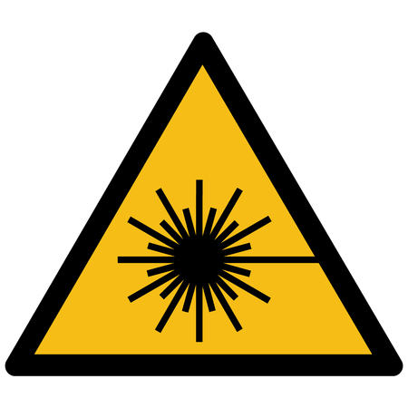Yellow warning sign with laser beam symbol