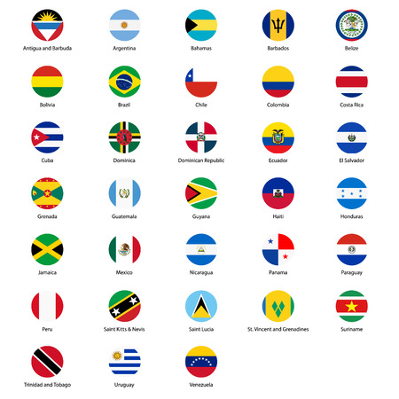 Round flags of all countries of the American continents vector icon set