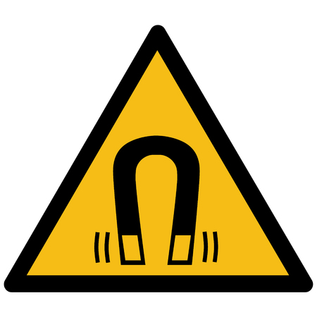 Warning sign, strong magnetic field symbol vector label, sticker.