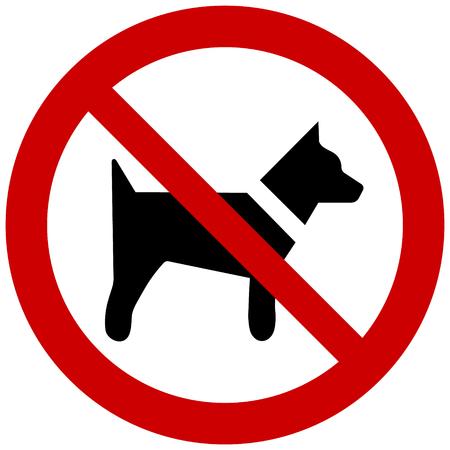 Vecteur aucun signe de chien isolé sur fond blanc