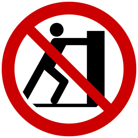 Prohibition sign vector - no pushing, do not push Иллюстрация